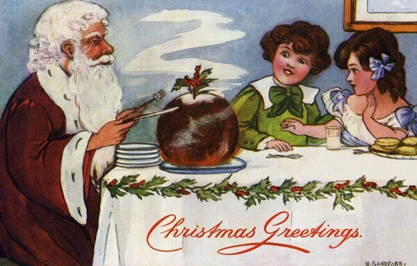 Santa cuts the Xmas pudding by Hilda Dix Sandford. Illustration from a postcard by Hilda Dix Sandford (1875-1946). She specialised illustrating children at play. Date: circa 1909