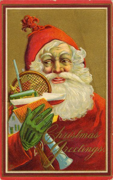 Jolly Father Christmas with lots of exciting presents, including a tennis racket