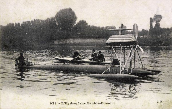 The hydroplane of Brazilian aviator Santos-Dumont, on the river Seine at Neuilly, Paris