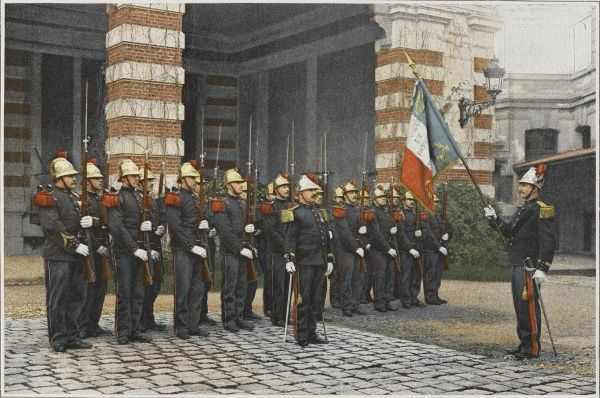 French firefighters are a part of the army. They parade and salute the flag just as soldiers do