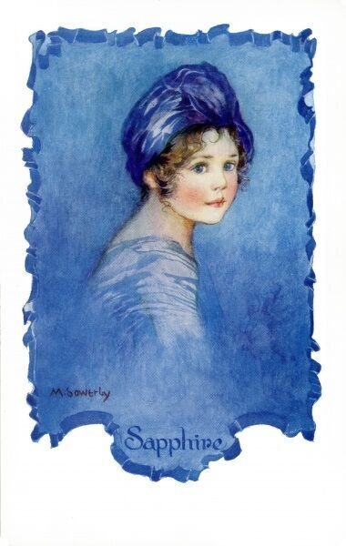 Sapphire by Millicent Sowerby. From the Little Jewels series of postcards illustrated by Amy Millicent Sowerby (1878-1967). Date: circa 1916