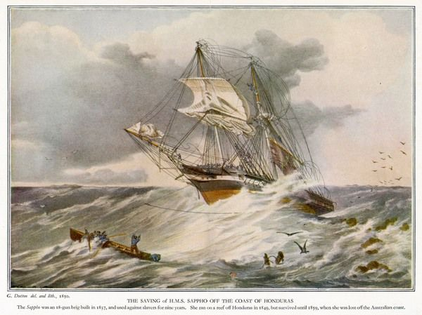 British sailing warship, depicted encountering heavy seas off the coast of Honduras. However, she survives another ten years before sinking in 1859
