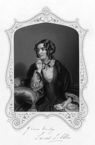 SARAH STICKNEY ELLIS Writer of books such as 'The women of England' designed to improve the position of women in society. An important figure in feminist history. Date: 1812 - 1872