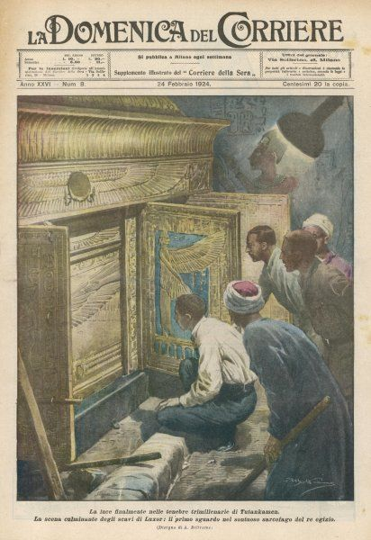 Howard Carter confronts the sarcophagus of Tutankhamen, in the Valley of the Kings, near Luxor