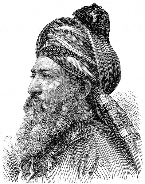 Engraved portrait of Sardar Afzal Khan, the British envoy to Kabul, Afganistan, pictured in 1882
