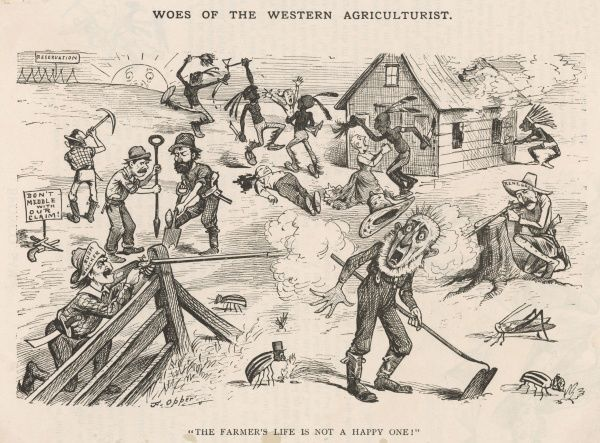 Satirical view of a farmer's life in the Old West