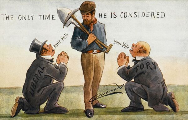 Excellent political satire on the plea for a labourer's vote, as both a Tory and a Liberal Politician get down on their knees to beg for the vote of the common working man. The card is bitingly entitled 'The only time he is considered&#39