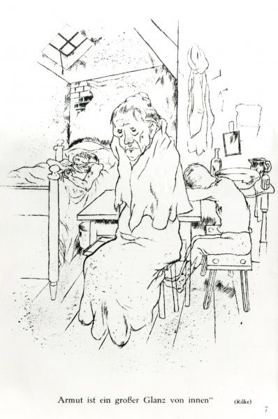 A satirical cartoon by the German artist George Grosz, showing three people living in a slum. An elderly woman sits on a chair, a young boy is slumped at the table, and an invalid (or possibly even a dead body) lies in the bed. The caption (in German)