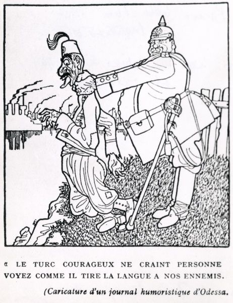 A satirical cartoon showing a fat German soldier strangling a thin Turkish soldier during the First World War. The cartoon (in French) reads: The brave Turk is afraid of no-one: see how he sticks out his tongue at our enemies. Date: 1914-1918