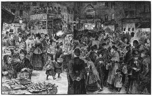 Saturday evening shopping in the East End of London, with a lot of people milling around