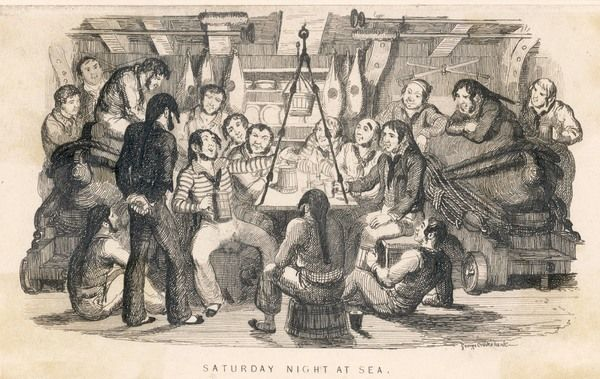 Saturday night at sea - the seamen, off duty, listen as one of their number sings a stirring sea-shanty
