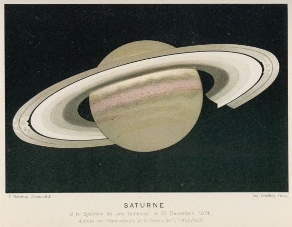 Saturn observed by L. Trouvelot from a French observatory