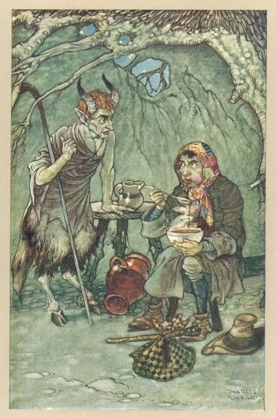 "THE SATYR & THE TRAVELLER ""Upon the satyr's demanding a reason why he blew again, he replied, to cool his dish."" Date: 1912"