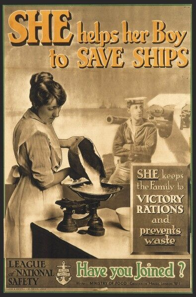 A woman saves food according to rationing recommendations during World War I in order to help save ships (many merchant ships were sunk by U-boats during WWI)