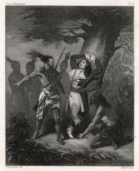 American Revolutionary Captain MacKinsty, captured by hostile Iroquois, is about to be burnt when their leader Brandt, recognising a brother-Mason, saves him, though an enemy