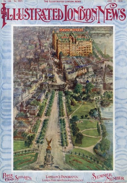 Panorama of London down the Mall towards the Savoy Hotel on the cover of the Illustrated London News in 1914