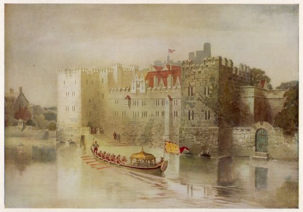 The Royal Palace of the Savoy at the time of Henry VIII ; although a royal barge is depicted here, the building was then used as a hospital for the poor