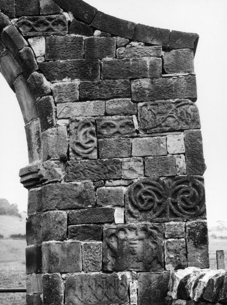 Carved stonework detail in the gateway of Sawley Abbey, Lancashire, England. It was an abbey of Cisterian monks from 1147 until its dissolution in 1537. Date: founded 1147