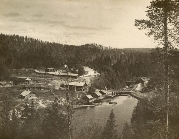 The sawmills near the river at Medevja-gora (Medvedja-gora, Medvezhya Gora, now known as Medvezhyegorsk, Republic of Karelia, north western Russia), during the British intervention in the Russian Civil War. Date: June 1919