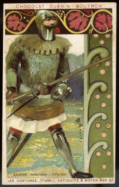 A fully armed Saxon infantryman in armour and helmet, with a dagger at his belt and a heavy sword in his hand
