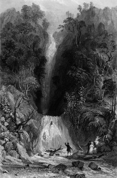 Sightseers admire Scale Force, Cumbria, one of the most dramatic falls of the Lake District. Date: 1833