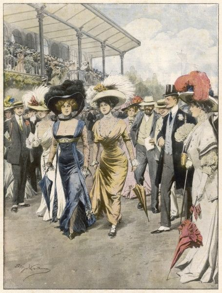 Brazen women cause a scandal at the French races in their decollete gowns which use transparent fabrics over the chest in order to conform to the fashion for high collars