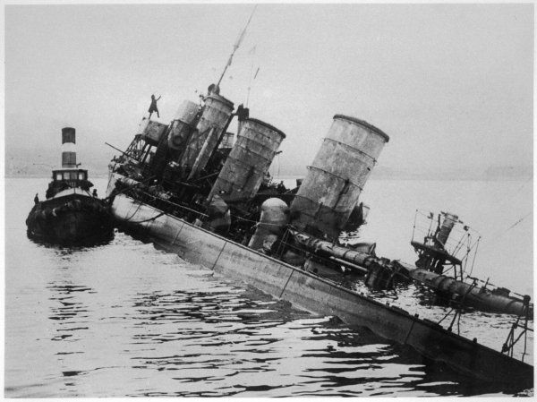 A scuttled German destroyer at Scapa Flow