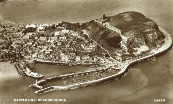 Scarborough, North Yorkshire - Castle Hill viewed from the air Date: circa 1930s