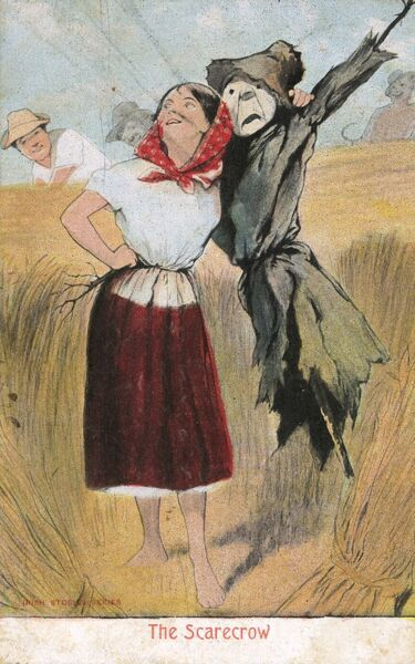 A young girl talks about the perfect man for marriage - one who can support her as well as the scarecrow! She also extols the virtues of the scarecrow to frighten away 'the crows'! Date: circa 1908