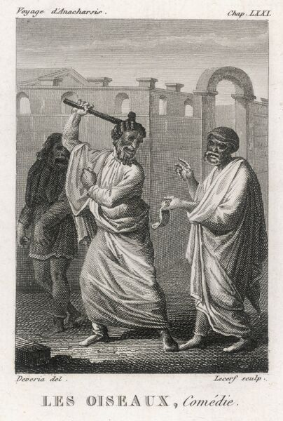 'THE BIRDS' A scene from the comedy : note that the actors are wearing masks, as was the normal practice on the Athenian stage