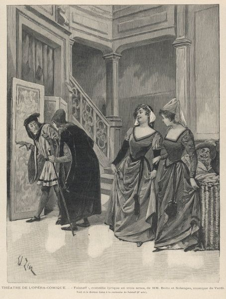 A scene from the first production at La Scala, Milan, Ford and Dr Caius search for Falstaff