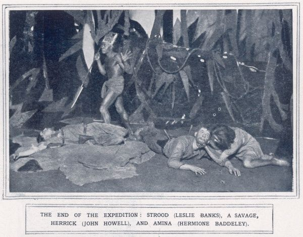 A scene from John Galsworthy's play, 'The Forest' which was staged at St. Martins Theatre in London in 1924. The scene depicts two survivors from a band of explorers sent out into Central Africa and shows Strood, played by Leslie Banks
