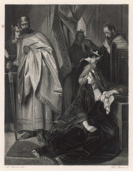 A scene from Shakespeare's history play, King John, in which a distraught Constance, the mother of Prince Arthur, speaks to the King