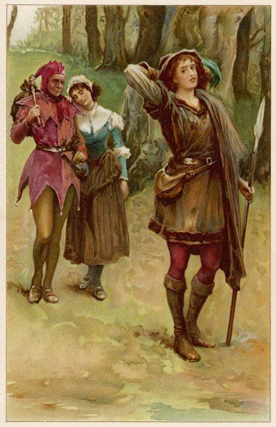 A scene from Shakespeare's comedy As You Like It, showing Rosalind, Touchstone and Audrey in the Forest of Arden