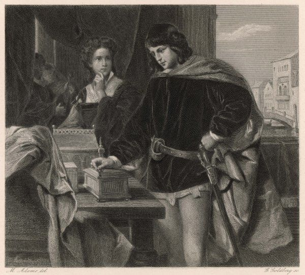 A scene from Shakespeare's comedy, The Merchant of Venice, in which Bassanio chooses the leaden casket rather than the gold or silver one, and wins Portia, a rich heiress