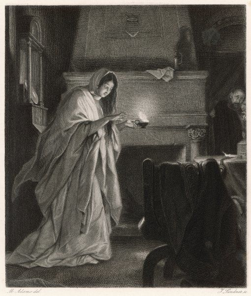 A scene from shakespeare's tragedy, Macbeth, showing Lady Macbeth sleepwalking, and imagining that her hands have blood on them