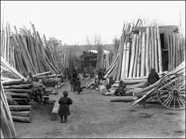 Scene in a timber yard in Kashgar, western China, with many logs stacked up. Photograph by Ralph Ponsonby Watts