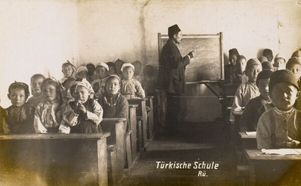 Scene in a Turkish school classroom. The boys and girls are separated onto different sides of the room