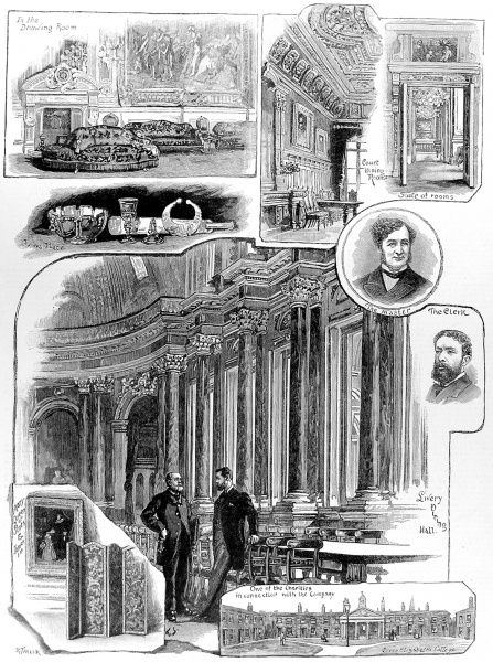 Engraving showing a number of scenes associated with the Drapers' Company, one of the London City Guilds, 1884