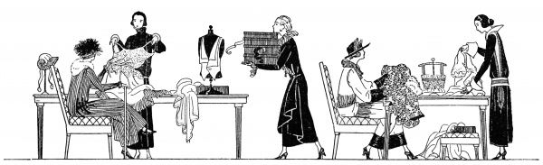 Scenes in an elegant dress shop, with assistants showing various items of clothing to their clients