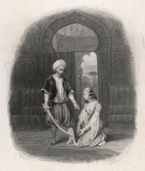 Scheherazade (variously spelt) is about to be beheaded, but she distracts the Sultan by telling him a story... and another... and another