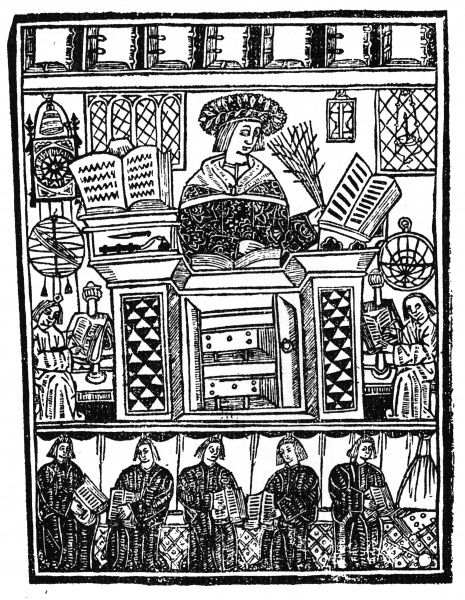 A scholar with his books and his pupils : note the wall clock and scientific instruments. Date: 1509