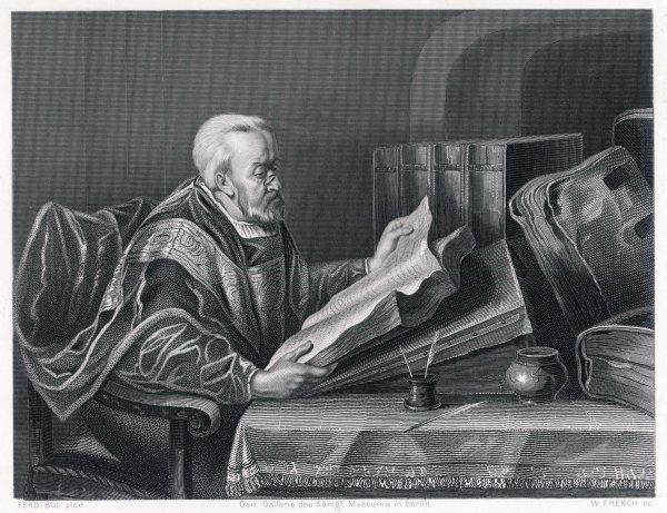 A scholar wearing a fine cloak peers through his monocle to read a large format book