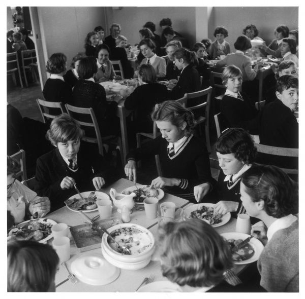 Pupils tuck into their school dinners at the Dorothy Stringer Secondary School, Brighton