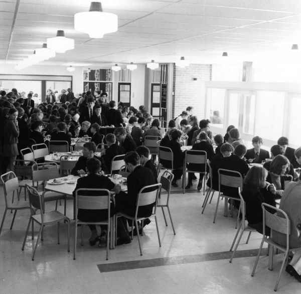 Pupils eating their school dinners in the Refectory at Manor High School. Date: 1969