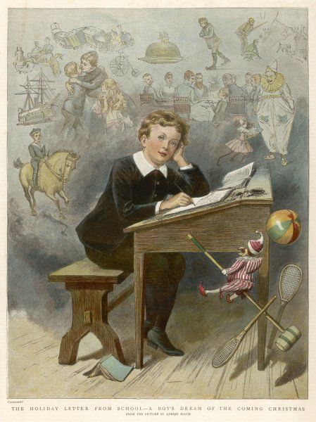 The schoolboy at his desk day-dreams of the pleasures of the Christmas holidays