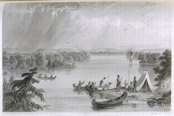 Henry Rowe Schoolcraft's explorations of the upper Mississippi river: native Americans visit his camp at Lake Hasca by canoe