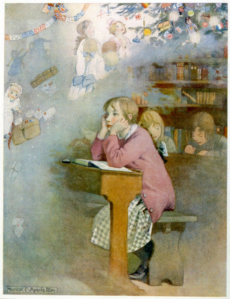 The schoolgirl at her desk day-dreams of the pleasures of the Christmas holidays