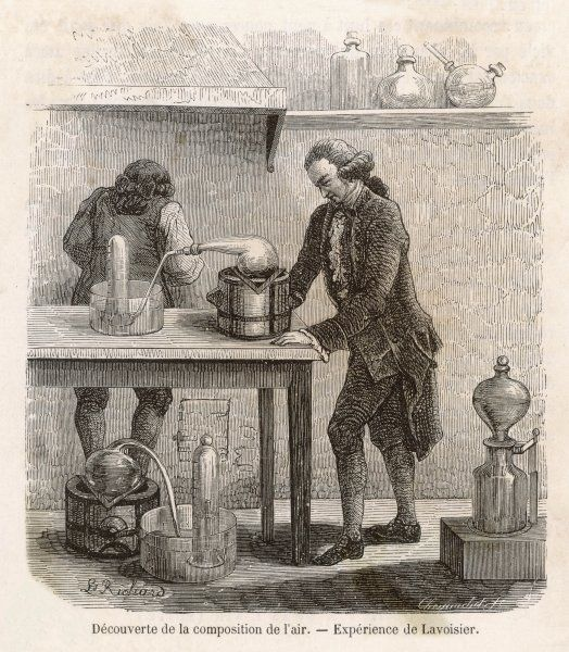 ANTOINE-LAURENT LAVOISIER French chemist & founder of modern chemistry. Depicted determining the composition of the atmosphere