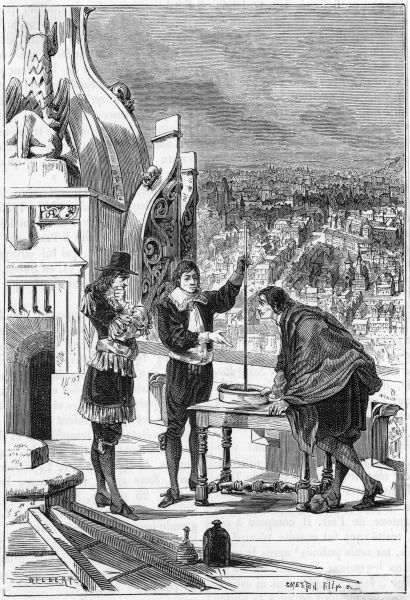 Blaise Pascal (1623 - 1662), French scientist and philosopher. Conducting barometric experiments on the tower of Saint-Jacques-la- Boucherie, Paris